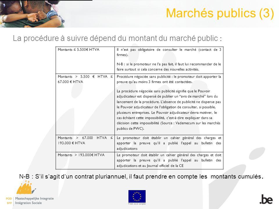 Marchés publics (3) Montants 5.500 HTVA Il nest pas obligatoire de consulter le marché (contact de 3 firmes).