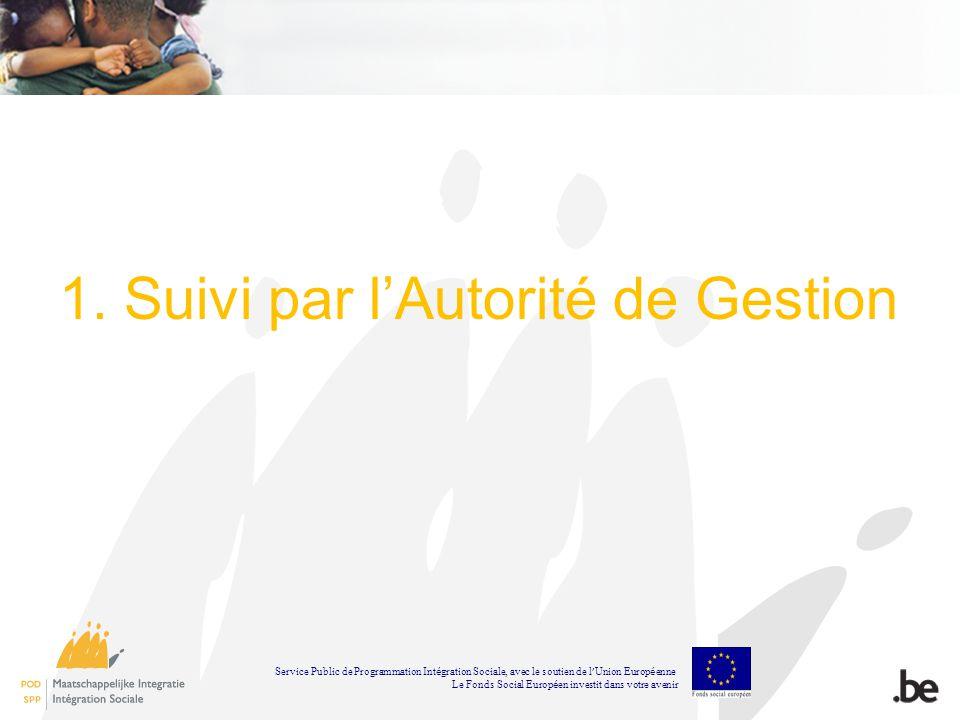 1. Suivi par lAutorité de Gestion Service Public de Programmation Int é gration Sociale, avec le soutien de l Union Europ é enne Le Fonds Social Europ