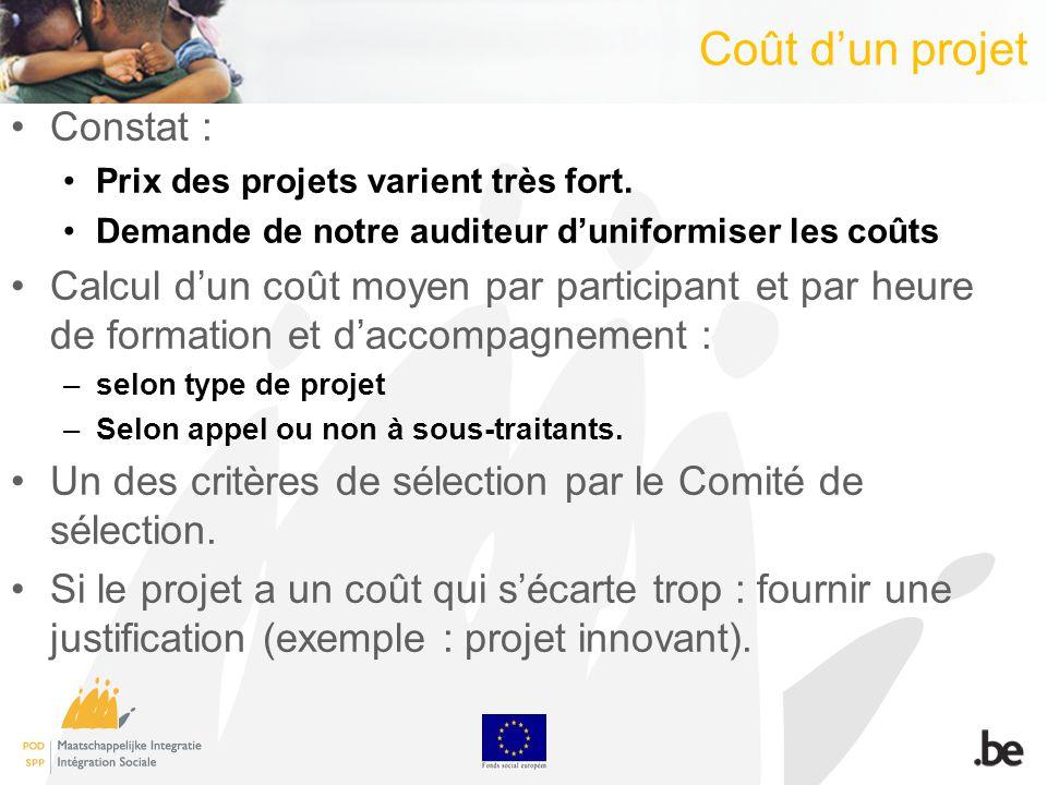 Coût dun projet Constat : Prix des projets varient très fort. Demande de notre auditeur duniformiser les coûts Calcul dun coût moyen par participant e