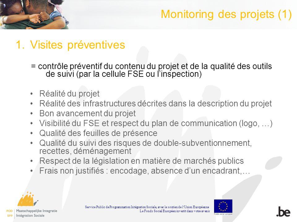 Monitoring des projets (1) 1.Visites préventives = contrôle préventif du contenu du projet et de la qualité des outils de suivi (par la cellule FSE ou