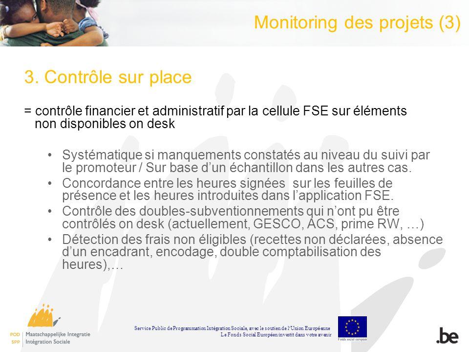 Monitoring des projets (3) 3. Contrôle sur place = contrôle financier et administratif par la cellule FSE sur éléments non disponibles on desk Systéma