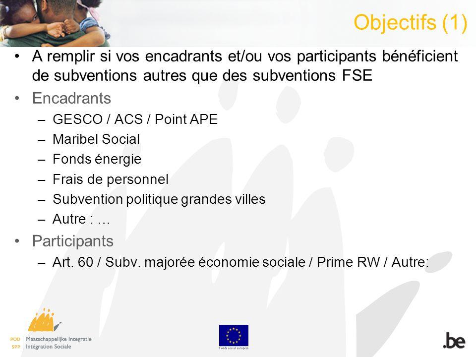 Objectifs (1) A remplir si vos encadrants et/ou vos participants bénéficient de subventions autres que des subventions FSE Encadrants –GESCO / ACS / P