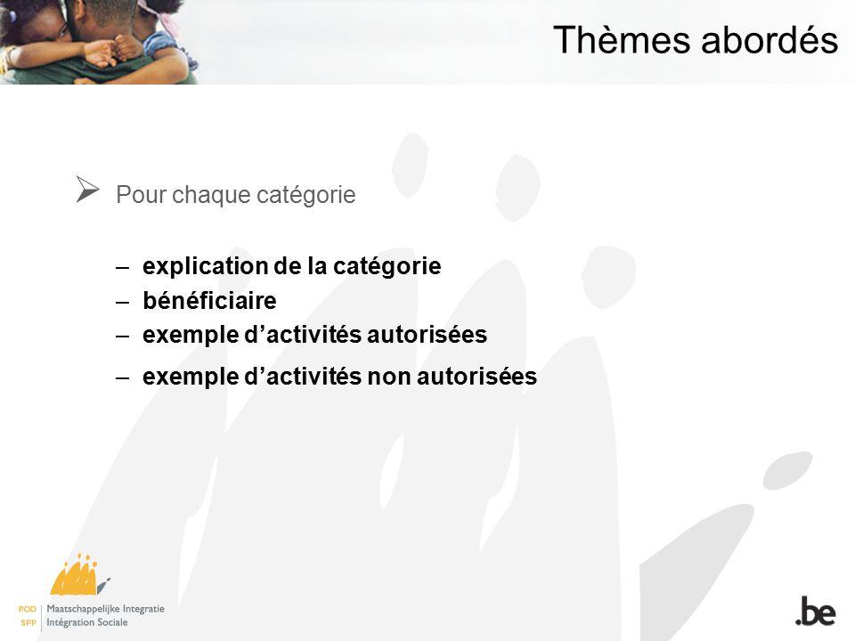 Thèmes abordés Pour chaque catégorie –explication de la catégorie –bénéficiaire –exemple dactivités autorisées –exemple dactivités non autorisées