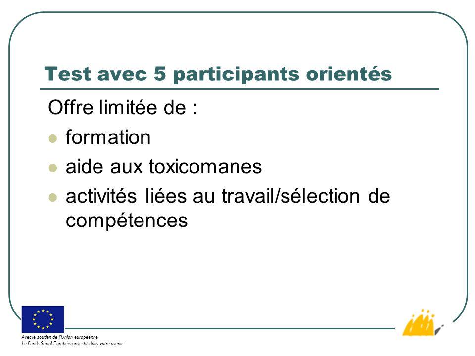 Test avec 5 participants orientés Offre limitée de : formation aide aux toxicomanes activités liées au travail/sélection de compétences Avec le soutien de l Union européenne Le Fonds Social Européen investit dans votre avenir