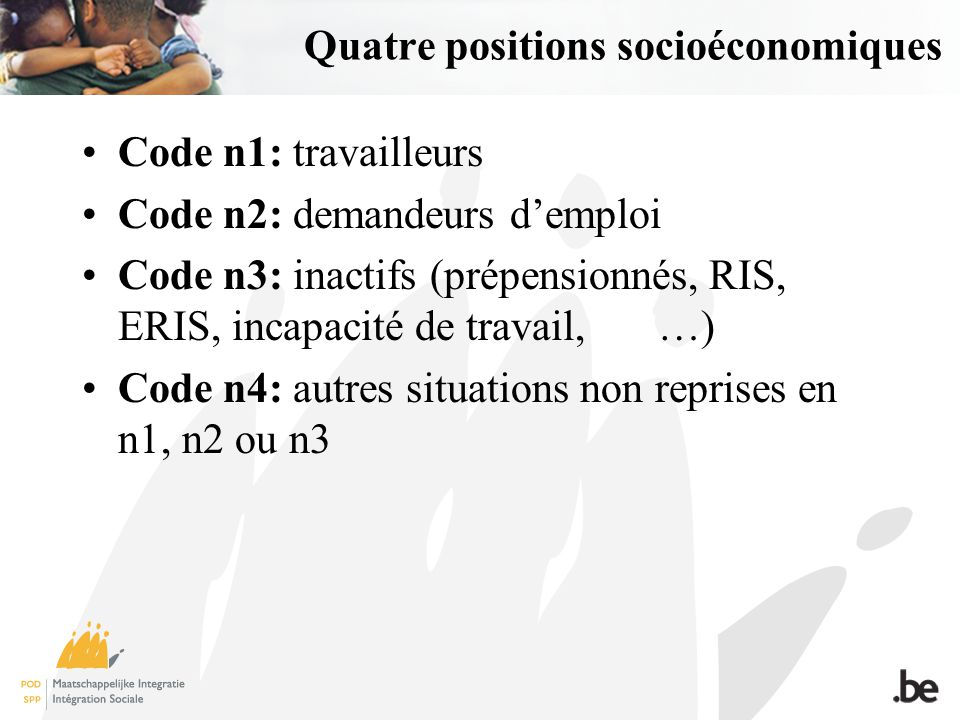 Quatre positions socioéconomiques Code n1: travailleurs Code n2: demandeurs demploi Code n3: inactifs (prépensionnés, RIS, ERIS, incapacité de travail