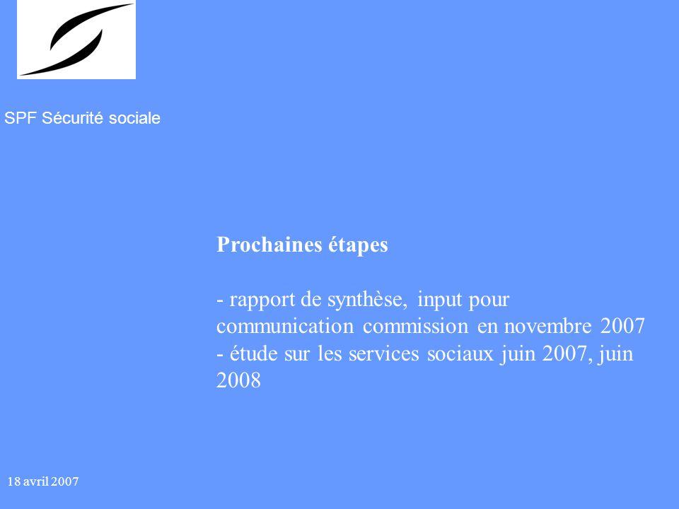 SPF Sécurité sociale 18 avril 2007 Prochaines étapes - rapport de synthèse, input pour communication commission en novembre 2007 - étude sur les services sociaux juin 2007, juin 2008