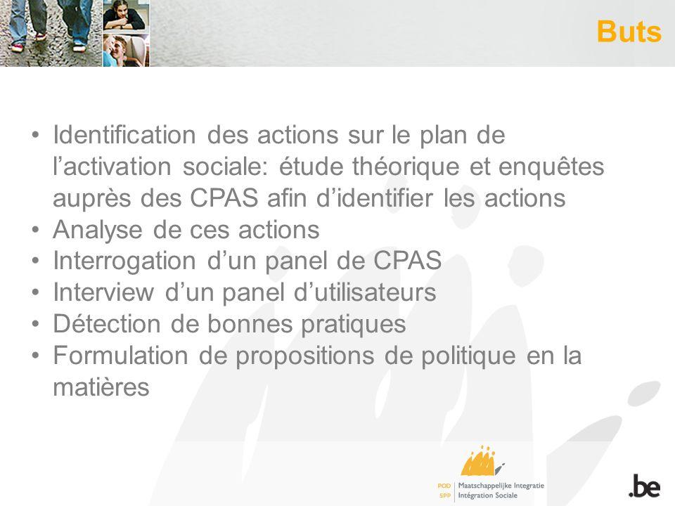Buts Identification des actions sur le plan de lactivation sociale: étude théorique et enquêtes auprès des CPAS afin didentifier les actions Analyse d