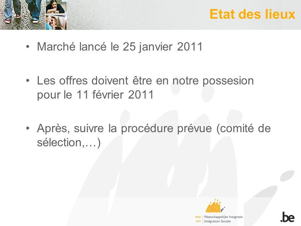 Etat des lieux Marché lancé le 25 janvier 2011 Les offres doivent être en notre possesion pour le 11 février 2011 Après, suivre la procédure prévue (comité de sélection,…)