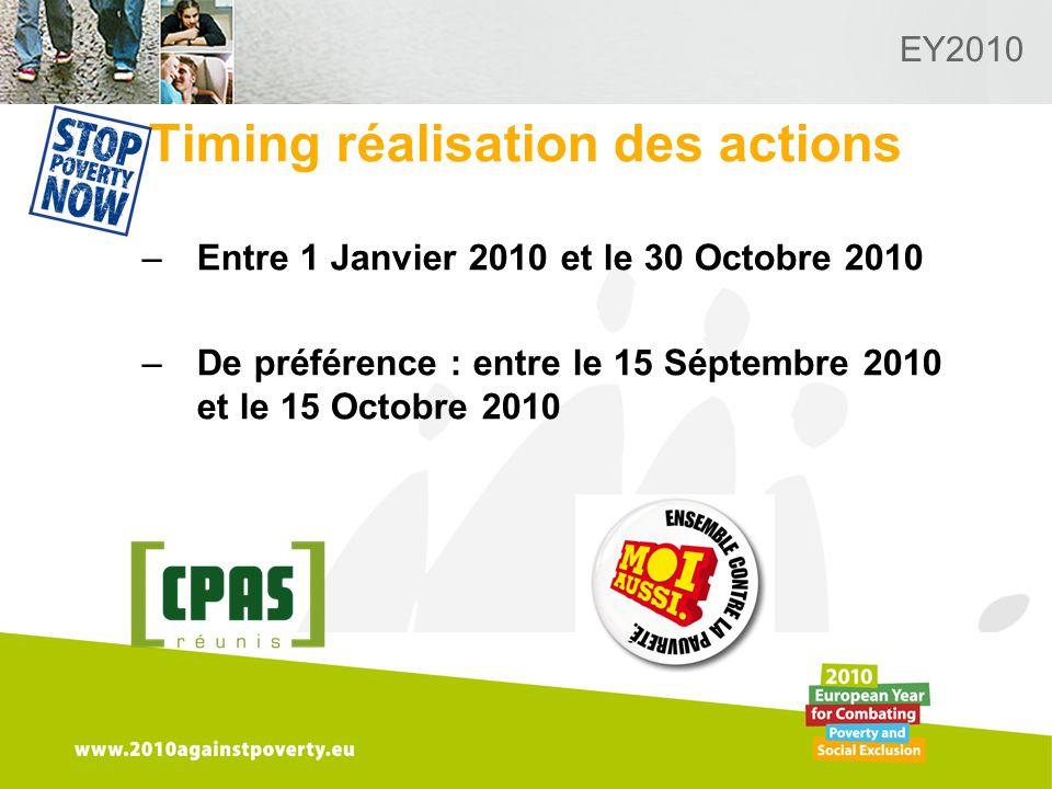 Logo van de desbetreffende sectie hier toevoegen EY2010 Timing réalisation des actions –Entre 1 Janvier 2010 et le 30 Octobre 2010 –De préférence : entre le 15 Séptembre 2010 et le 15 Octobre 2010
