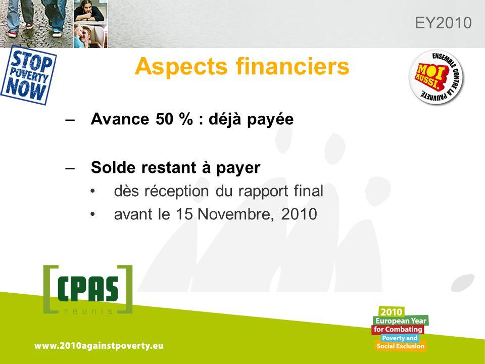 Logo van de desbetreffende sectie hier toevoegen EY2010 Aspects financiers –Avance 50 % : déjà payée –Solde restant à payer dès réception du rapport final avant le 15 Novembre, 2010
