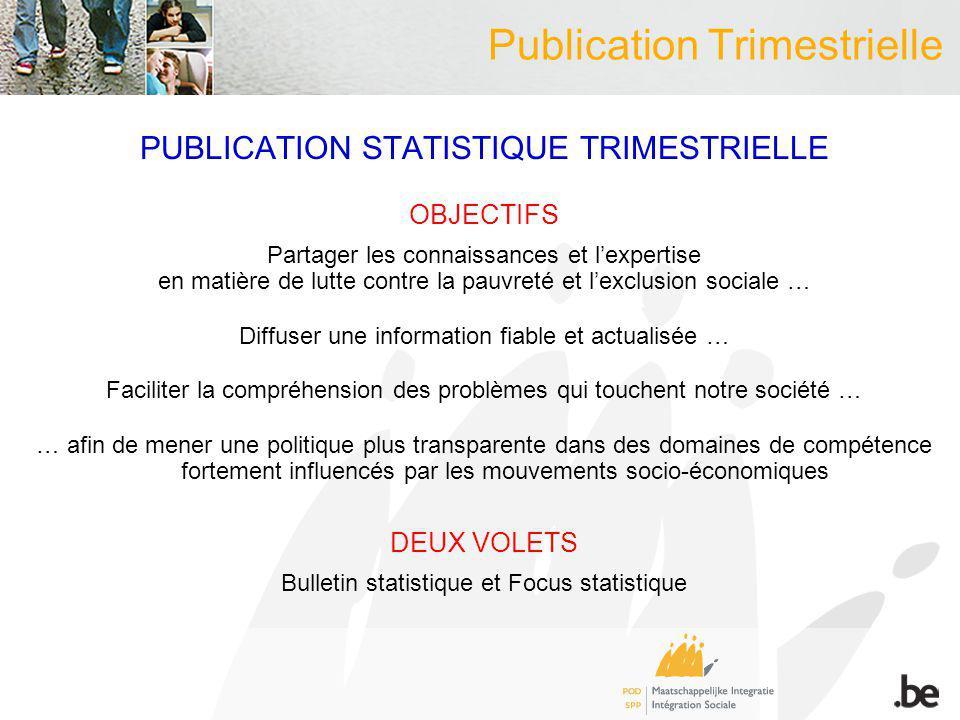 Publication Trimestrielle PUBLICATION STATISTIQUE TRIMESTRIELLE OBJECTIFS Partager les connaissances et lexpertise en matière de lutte contre la pauvr
