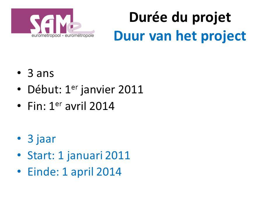 Durée du projet Duur van het project 3 ans Début: 1 er janvier 2011 Fin: 1 er avril 2014 3 jaar Start: 1 januari 2011 Einde: 1 april 2014