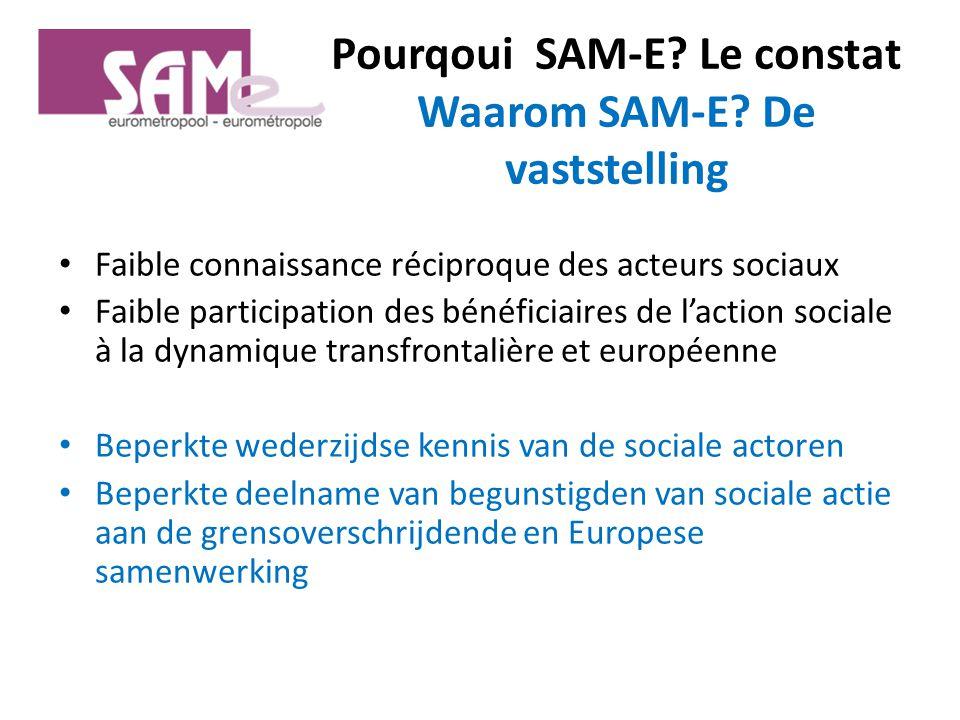 Pourqoui SAM-E. Le constat Waarom SAM-E.