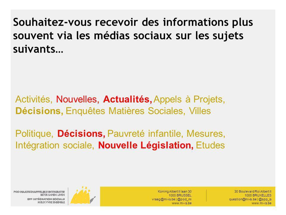 Koning Albert II laan 30 1000 BRUSSEL vraag@mi-is.be | @pod_mi www.mi-is.be __________ 30 Boulevard Roi Albert II 1000 BRUXELLES question@mi-is.be | @spp_is www.mi-is.be Souhaitez-vous recevoir des informations plus souvent via les médias sociaux sur les sujets suivants… Activités, Nouvelles, Actualités, Appels à Projets, Décisions, Enquêtes Matières Sociales, Villes Politique, Décisions, Pauvreté infantile, Mesures, Intégration sociale, Nouvelle Législation, Etudes