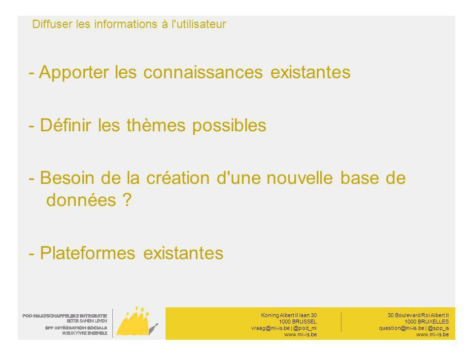 Koning Albert II laan 30 1000 BRUSSEL vraag@mi-is.be | @pod_mi www.mi-is.be __________ 30 Boulevard Roi Albert II 1000 BRUXELLES question@mi-is.be | @spp_is www.mi-is.be Diffuser les informations à l utilisateur - Apporter les connaissances existantes - Définir les thèmes possibles - Besoin de la création d une nouvelle base de données .