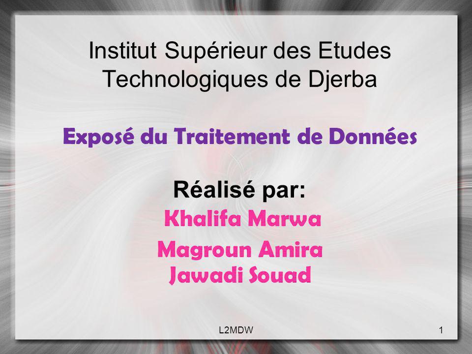 Institut Supérieur des Etudes Technologiques de Djerba Exposé du Traitement de Données Réalisé par: Khalifa Marwa Magroun Amira Jawadi Souad 1L2MDW