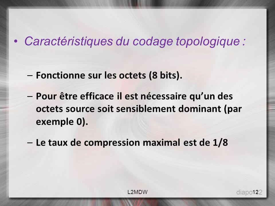 Caractéristiques du codage topologique : –Fonctionne sur les octets (8 bits). –Pour être efficace il est nécessaire quun des octets source soit sensib