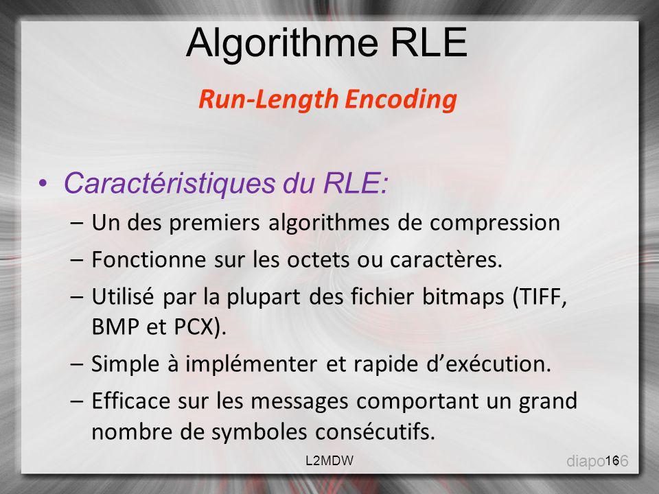 Run-Length Encoding Caractéristiques du RLE: –Un des premiers algorithmes de compression –Fonctionne sur les octets ou caractères. –Utilisé par la plu