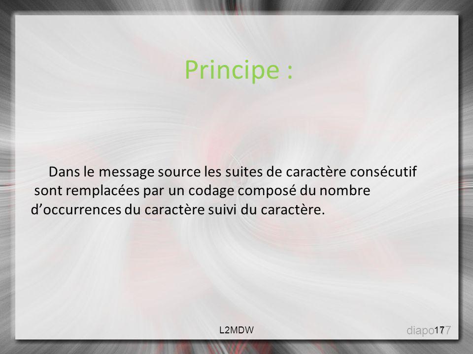 Principe : Dans le message source les suites de caractère consécutif sont remplacées par un codage composé du nombre doccurrences du caractère suivi d