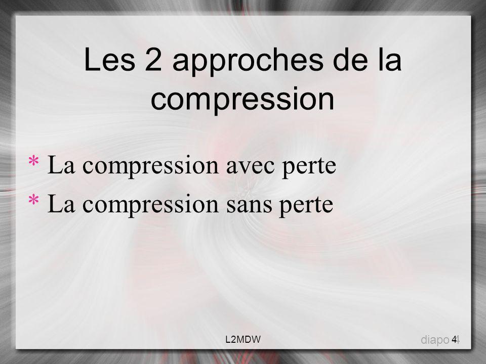 Les 2 approches de la compression * La compression avec perte * La compression sans perte diapo 4 4L2MDW