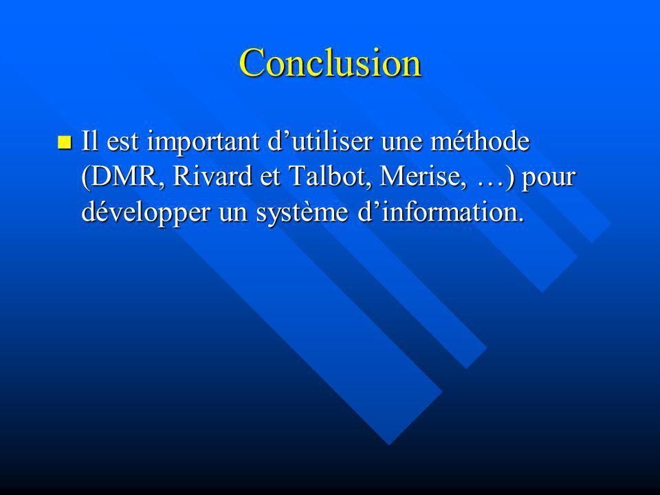 Conclusion Il est important dutiliser une méthode (DMR, Rivard et Talbot, Merise, …) pour développer un système dinformation. Il est important dutilis