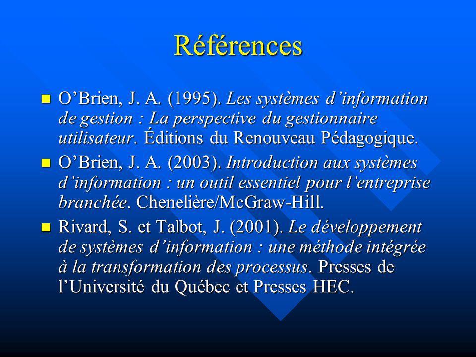Références OBrien, J. A. (1995). Les systèmes dinformation de gestion : La perspective du gestionnaire utilisateur. Éditions du Renouveau Pédagogique.