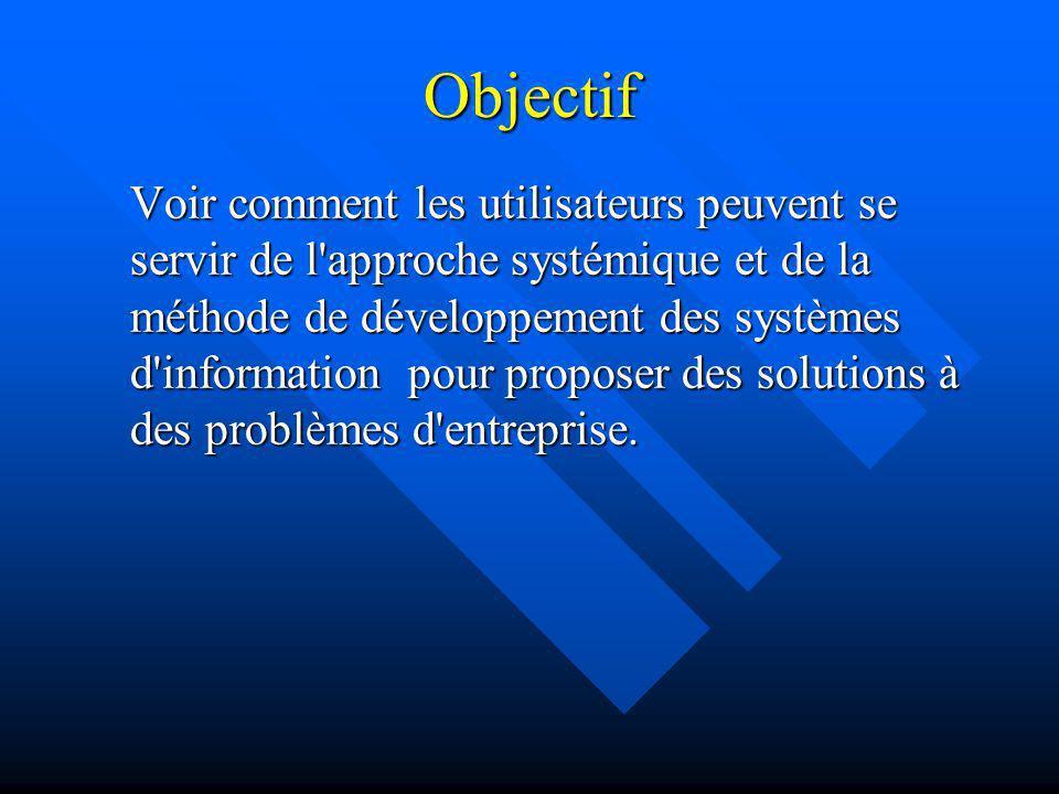 Objectif Voir comment les utilisateurs peuvent se servir de l'approche systémique et de la méthode de développement des systèmes d'information pour pr