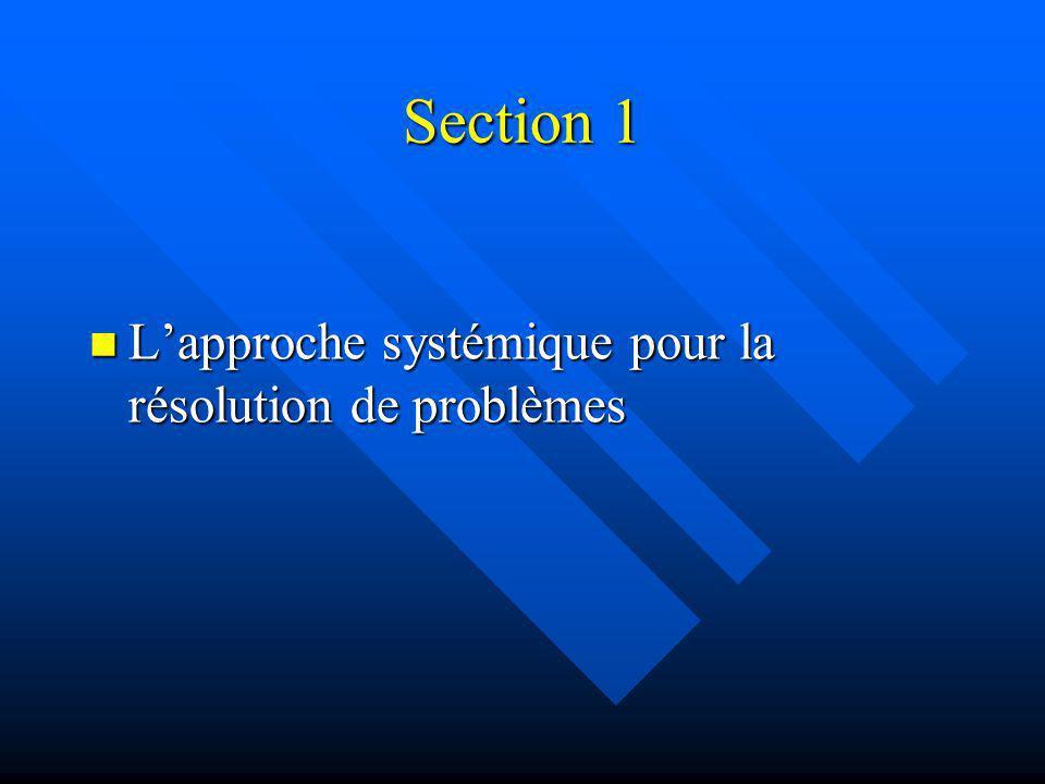 Section 1 Lapproche systémique pour la résolution de problèmes Lapproche systémique pour la résolution de problèmes