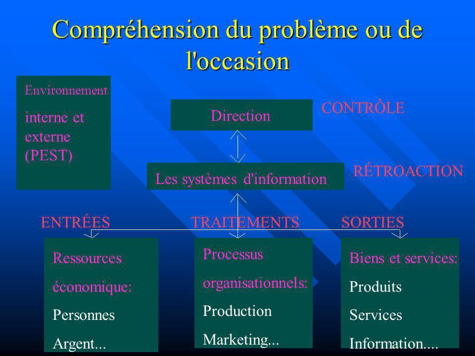 Compréhension du problème ou de l'occasion Direction Les systèmes d'information Ressources économique: Personnes Argent... Processus organisationnels:
