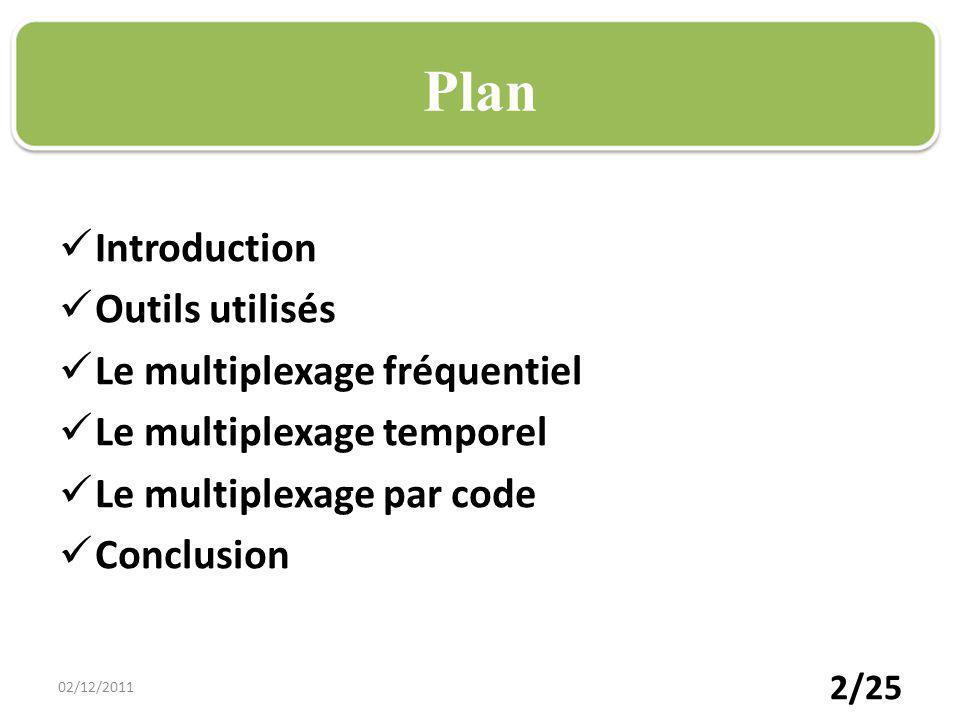 Plan Introduction Outils utilisés Le multiplexage fréquentiel Le multiplexage temporel Le multiplexage par code Conclusion 02/12/2011 2/25