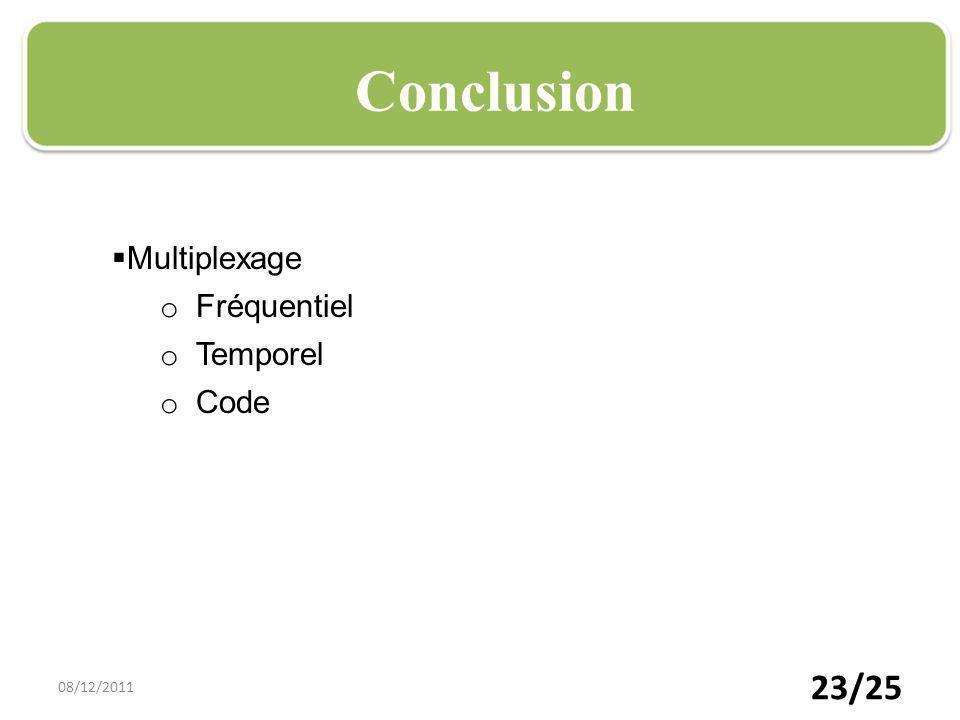 23/25 Plan Conclusion Multiplexage o Fréquentiel o Temporel o Code 08/12/2011