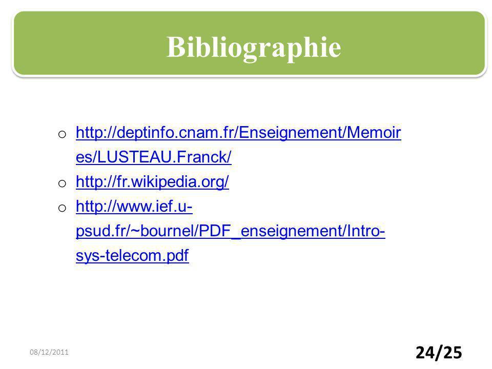 24/25 Plan Bibliographie o http://deptinfo.cnam.fr/Enseignement/Memoir es/LUSTEAU.Franck/ http://deptinfo.cnam.fr/Enseignement/Memoir es/LUSTEAU.Franc