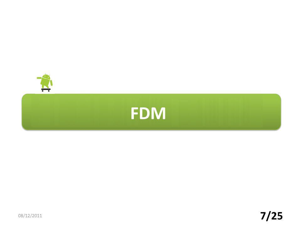 8/25 CDM TDM FDM Technique de multiplexage o Répartition de fréquence o Partager la bande de fréquence de la voie haute vitesse en une série de canaux de plus faible largeur o Faire circuler en permanence sur la voie haute vitesse les différents signaux des voies basses vitesses 08/12/2011