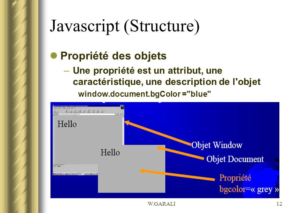 W.GARALI12 Javascript (Structure) Propriété des objets –Une propriété est un attribut, une caractéristique, une description de l'objet window.document