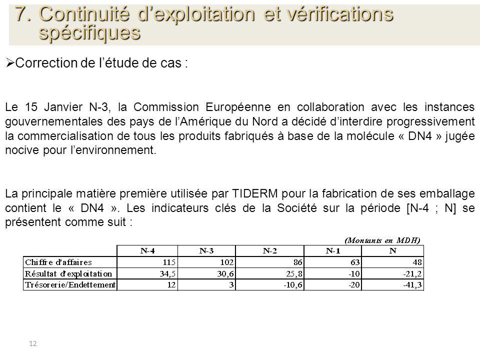 12 Correction de létude de cas : Le 15 Janvier N-3, la Commission Européenne en collaboration avec les instances gouvernementales des pays de lAmériqu