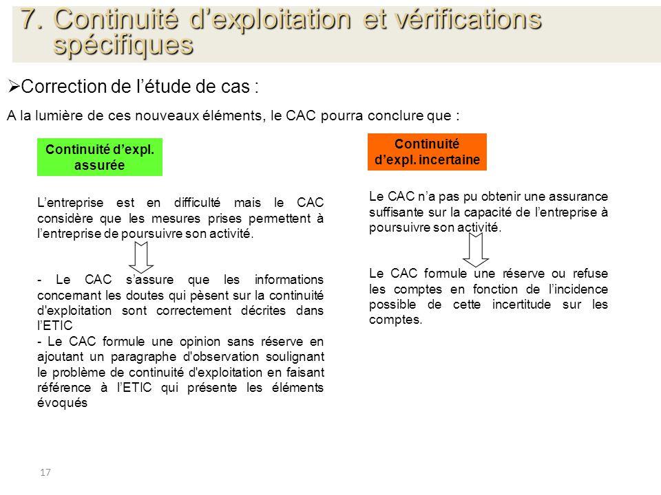 17 Correction de létude de cas : A la lumière de ces nouveaux éléments, le CAC pourra conclure que : Continuité dexpl. assurée Continuité dexpl. incer