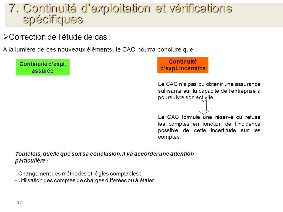 18 Correction de létude de cas : A la lumière de ces nouveaux éléments, le CAC pourra conclure que : Toutefois, quelle que soit sa conclusion, il va a