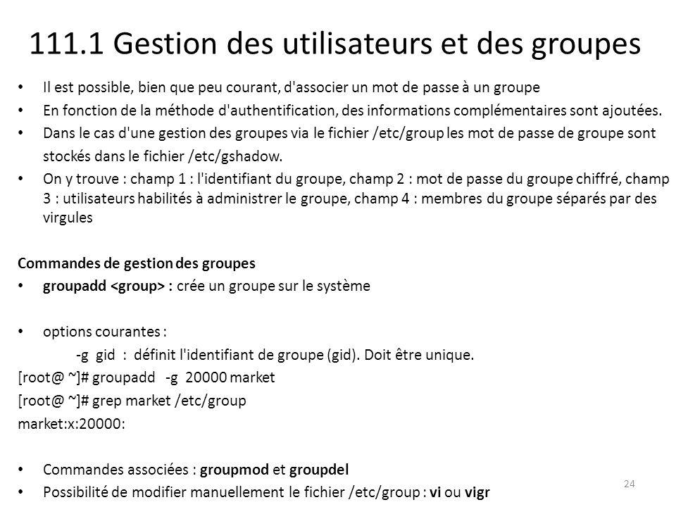 111.1 Gestion des utilisateurs et des groupes Il est possible, bien que peu courant, d'associer un mot de passe à un groupe En fonction de la méthode
