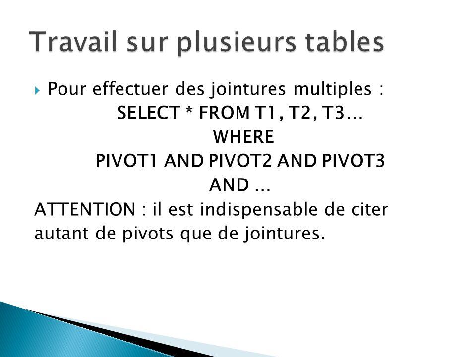Pour effectuer des jointures multiples : SELECT * FROM T1, T2, T3… WHERE PIVOT1 AND PIVOT2 AND PIVOT3 AND … ATTENTION : il est indispensable de citer