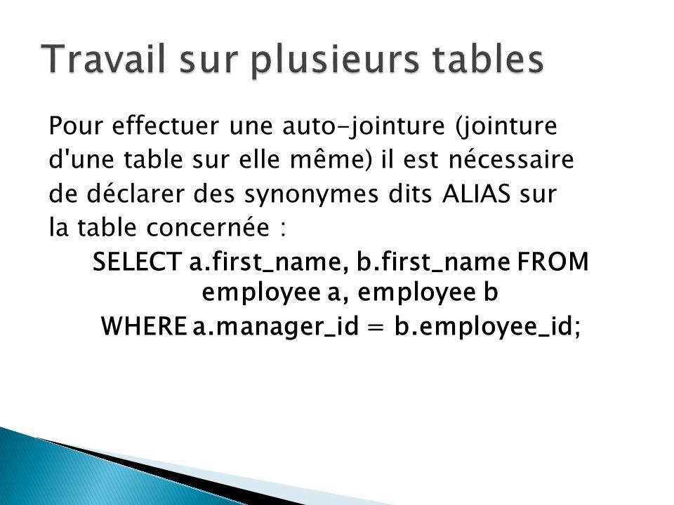 Pour effectuer une auto-jointure (jointure d'une table sur elle même) il est nécessaire de déclarer des synonymes dits ALIAS sur la table concernée :
