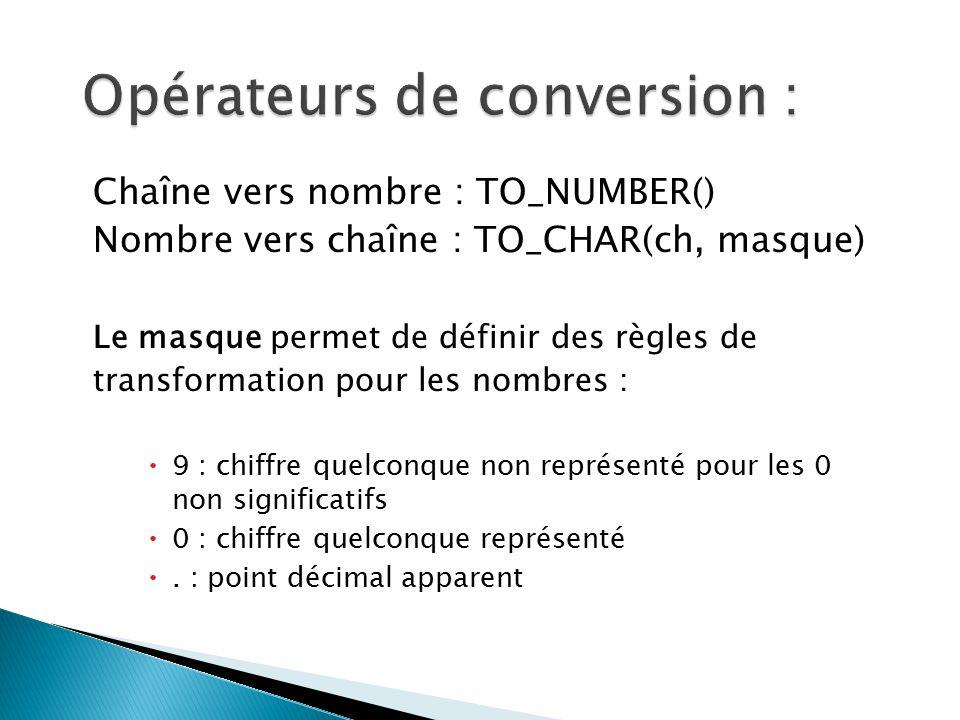 Chaîne vers nombre : TO_NUMBER() Nombre vers chaîne : TO_CHAR(ch, masque) Le masque permet de définir des règles de transformation pour les nombres :