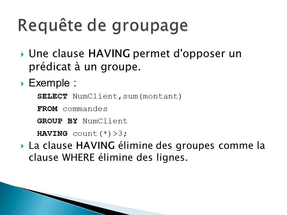 Une clause HAVING permet d'opposer un prédicat à un groupe. Exemple : SELECT NumClient,sum(montant) FROM commandes GROUP BY NumClient HAVING count(*)>