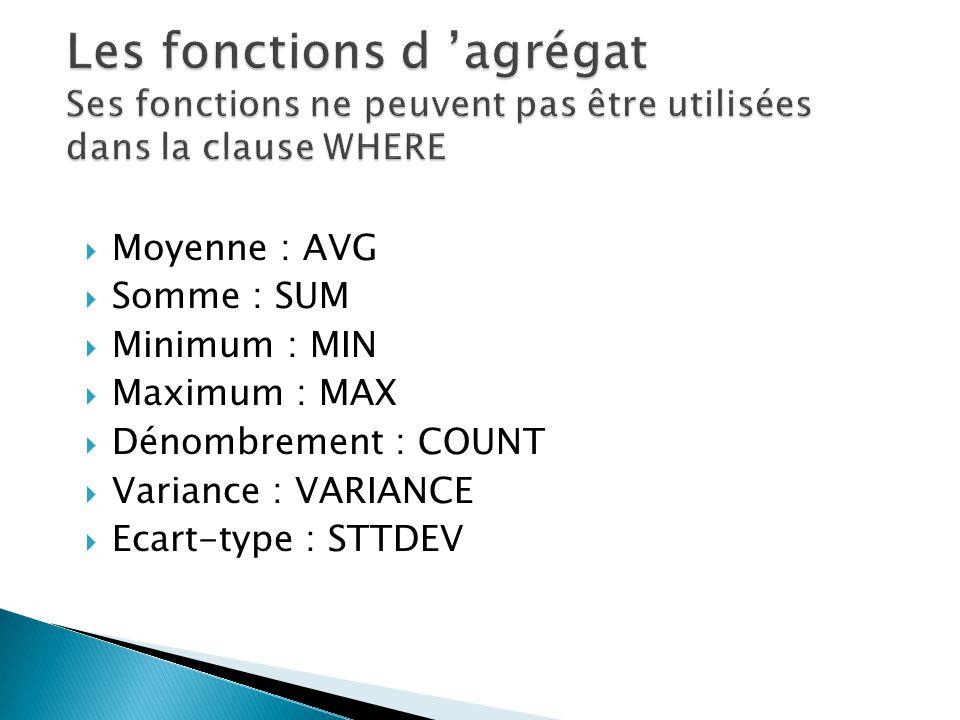 Moyenne : AVG Somme : SUM Minimum : MIN Maximum : MAX Dénombrement : COUNT Variance : VARIANCE Ecart-type : STTDEV