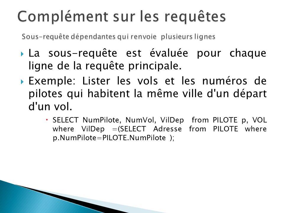 La sous-requête est évaluée pour chaque ligne de la requête principale. Exemple: Lister les vols et les numéros de pilotes qui habitent la même ville