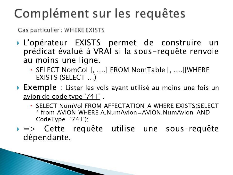 L'opérateur EXISTS permet de construire un prédicat évalué à VRAI si la sous-requête renvoie au moins une ligne. SELECT NomCol [, ….] FROM NomTable [,