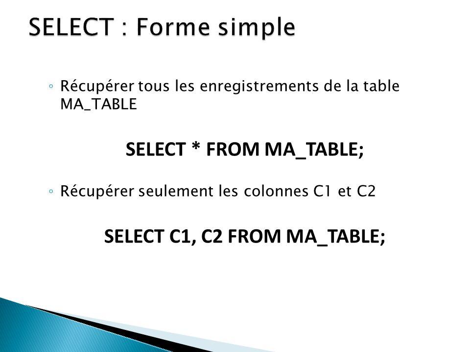 Récupérer tous les enregistrements de la table MA_TABLE SELECT * FROM MA_TABLE; Récupérer seulement les colonnes C1 et C2 SELECT C1, C2 FROM MA_TABLE;