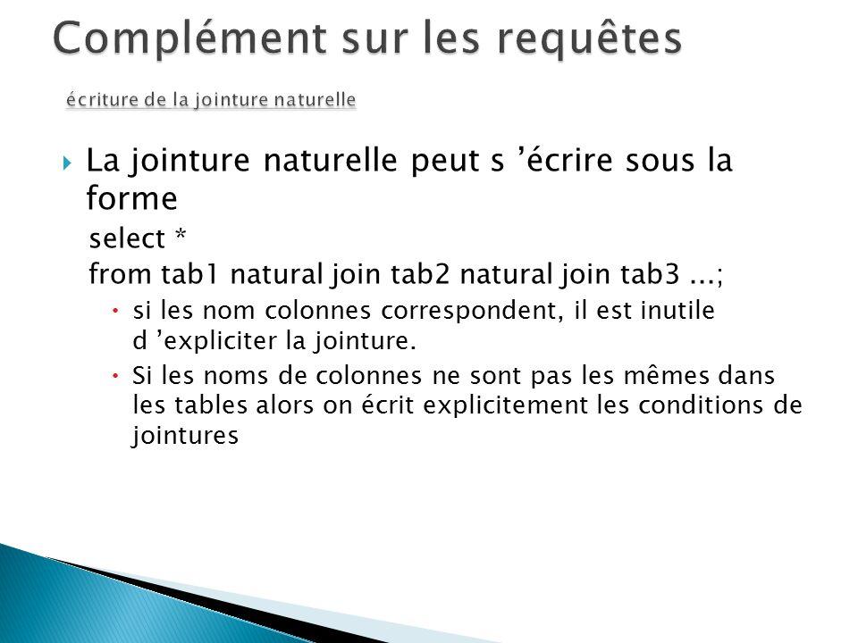 La jointure naturelle peut s écrire sous la forme select * from tab1 natural join tab2 natural join tab3...; si les nom colonnes correspondent, il est