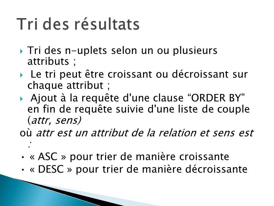 Tri des n-uplets selon un ou plusieurs attributs ; Le tri peut être croissant ou décroissant sur chaque attribut ; Ajout à la requête d'une clause ORD