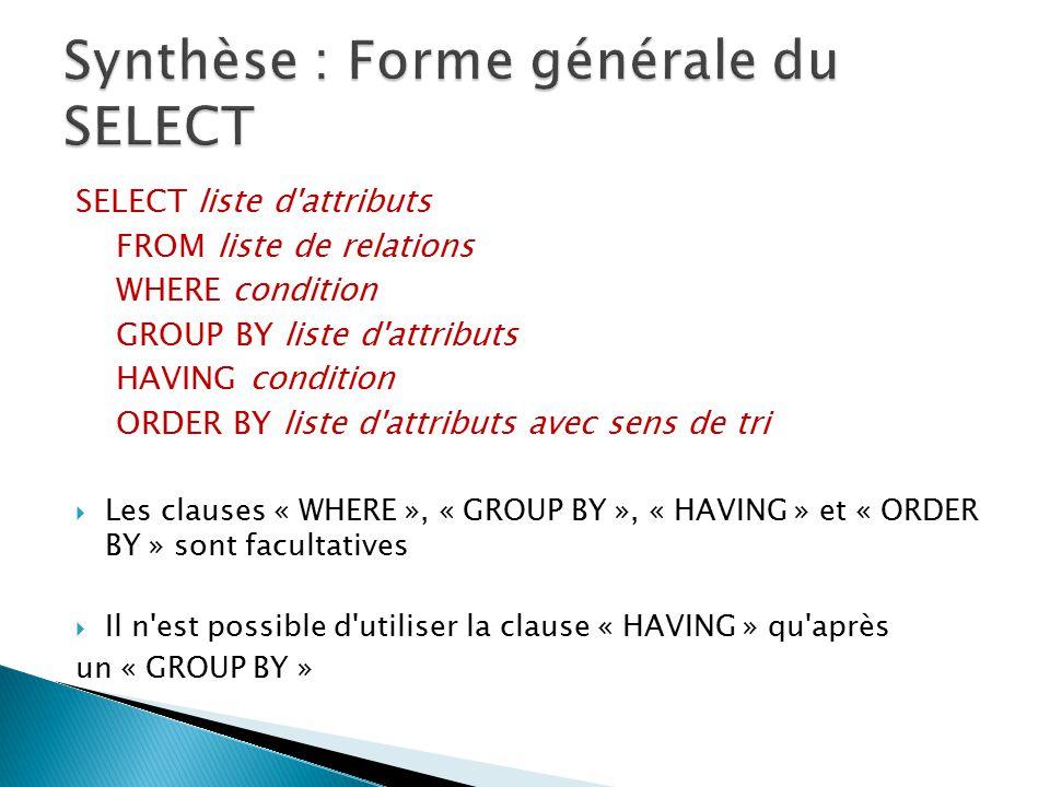SELECT liste d'attributs FROM liste de relations WHERE condition GROUP BY liste d'attributs HAVING condition ORDER BY liste d'attributs avec sens de t