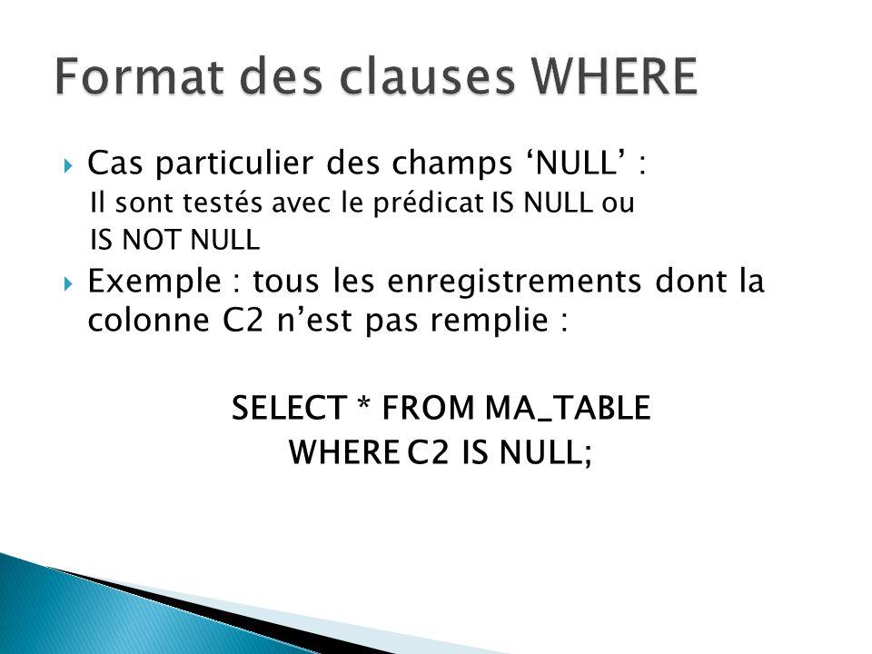 Cas particulier des champs NULL : Il sont testés avec le prédicat IS NULL ou IS NOT NULL Exemple : tous les enregistrements dont la colonne C2 nest pa